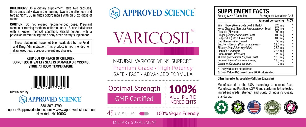 Varicosil Supplement Facts